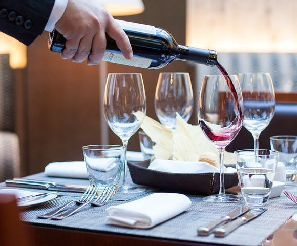 Wine served at the Alvear Hotel, Buenos Aires, Argentina