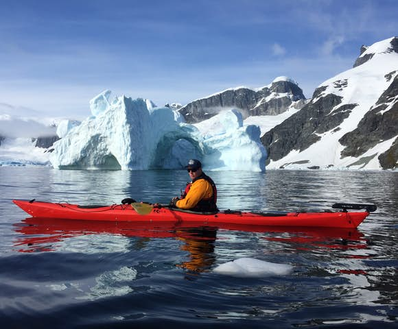 Kayaking in Antarctica on one of our Antarctica cruises