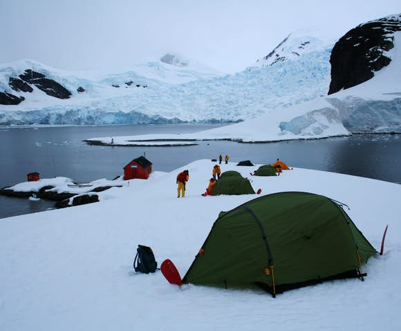 Camping above Almirante Brown (Argentine) research station, Paradise Bay, Antarctica