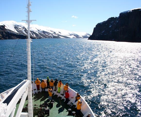 Approaching Neptune's Bellows, Deception Island, South Shetlands, Antarctica