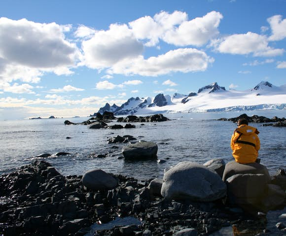 Looking out over tidal pools in Antarctica in December