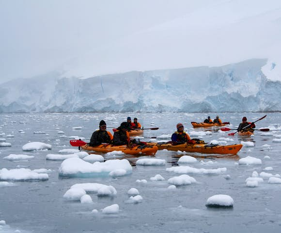 Sea kayaking in Antarctic waters