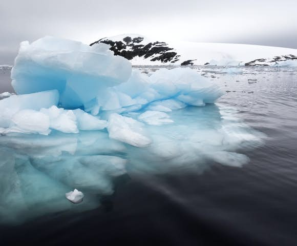 Electric blue ice sculptures are common sightings on Antarctica cruises