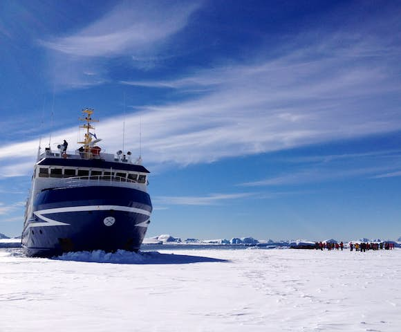 Walking on fast ice in Antarctica