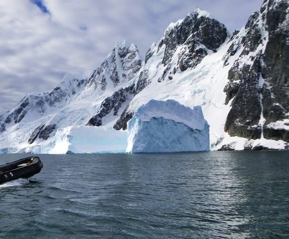 Taking a Zodiac ride to Pleneau Bay, Antarctica, in March