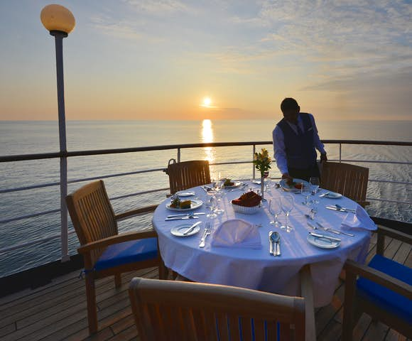 Dinner on board a luxury Antarctica cruise - Hebridean Sky Ship