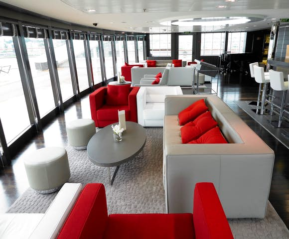 The observation louunge of Le Boreal, one of Antarctica's finest cruise ships