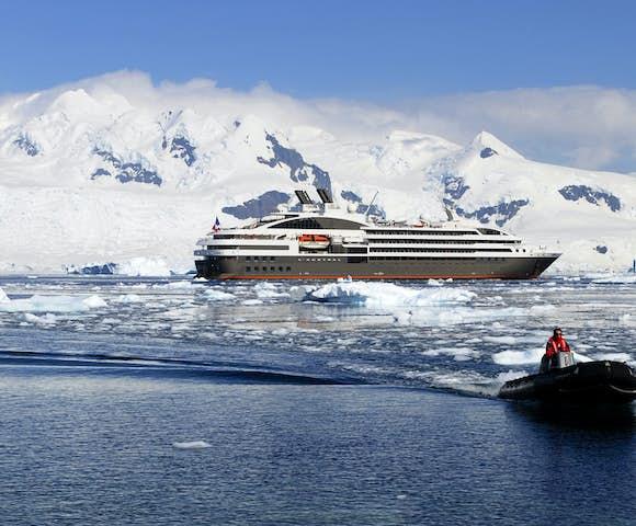 Taking a zodiac cruise in Antarctica from Le Boreal cruise ship