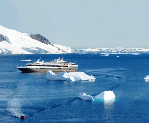 Expedition ship exploring Antarctica