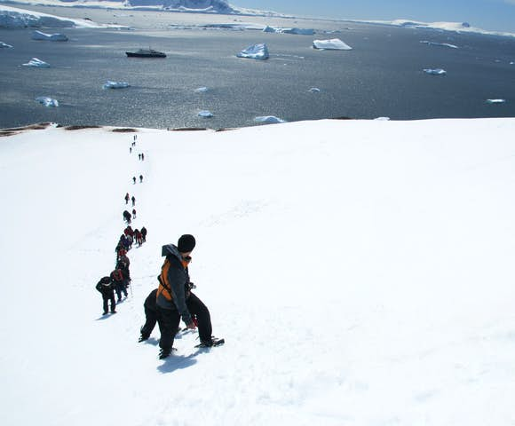 Mountaineering above Paradise Bay, Antarctica in November