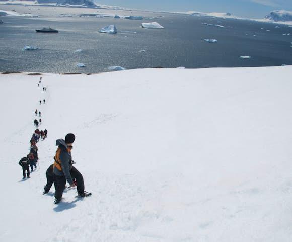Mountaineering above Paradise Bay, Antarctica in November