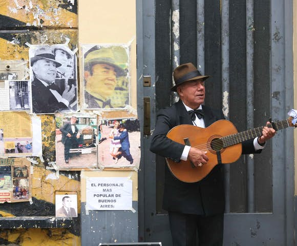 A Porteño musician on the streets of Buenos Aires, Argentina