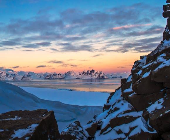 Mountain sunset, Antarctica
